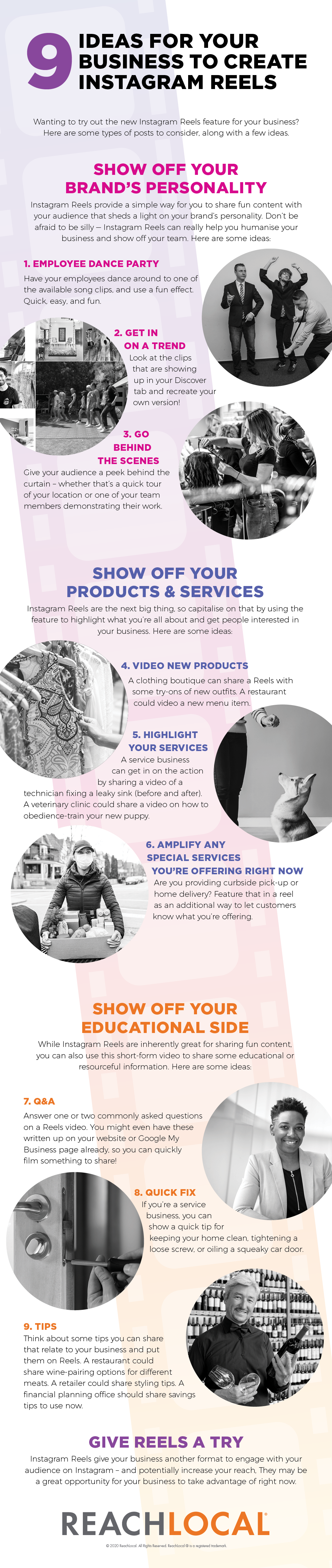 9 Ideas for Your Business to Create Instagram Reels Infographic by ReachLocal