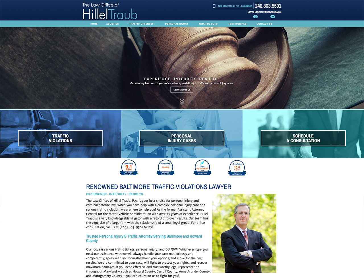The Law Office of Hillel Traub, Desktop View