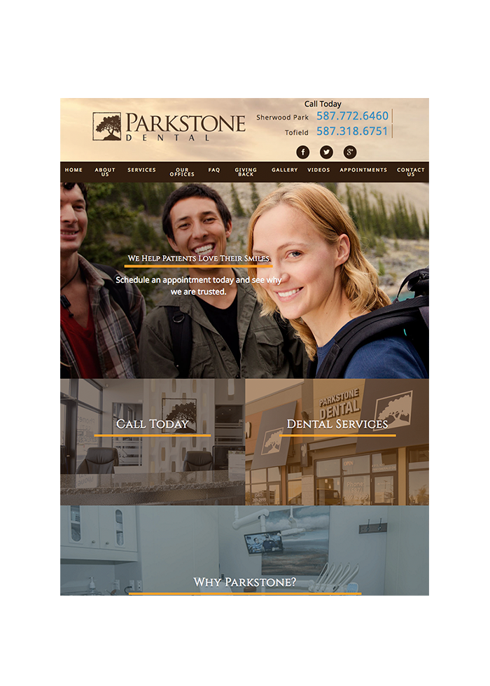 Parkstone Dental, Tablet View