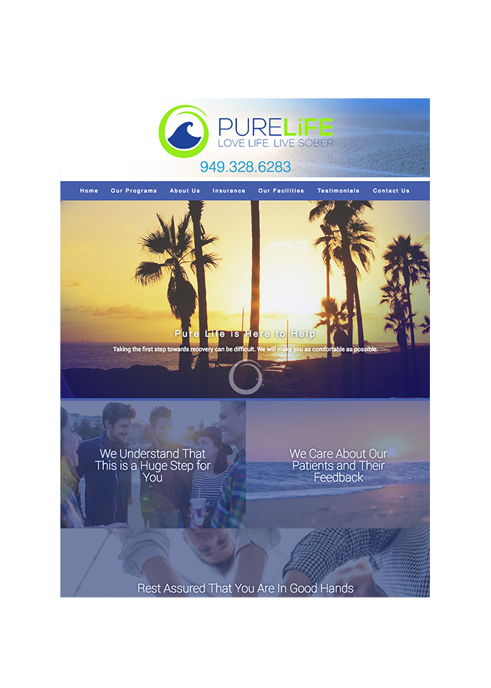 Pure Life Recovery, Tablet View
