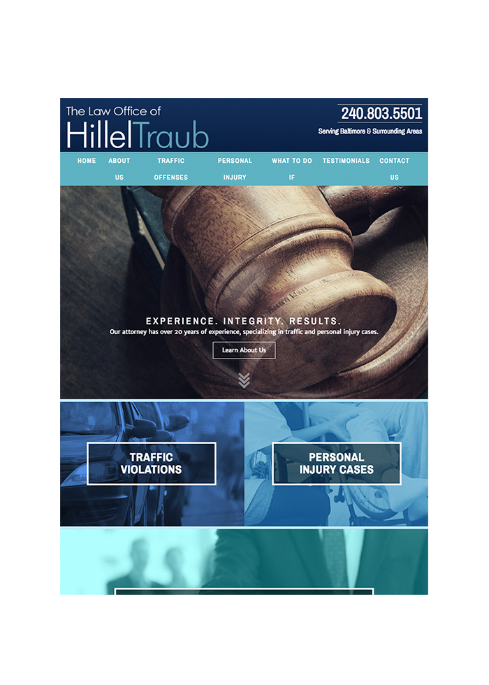 The Law Office of Hillel Traub, Tablet View